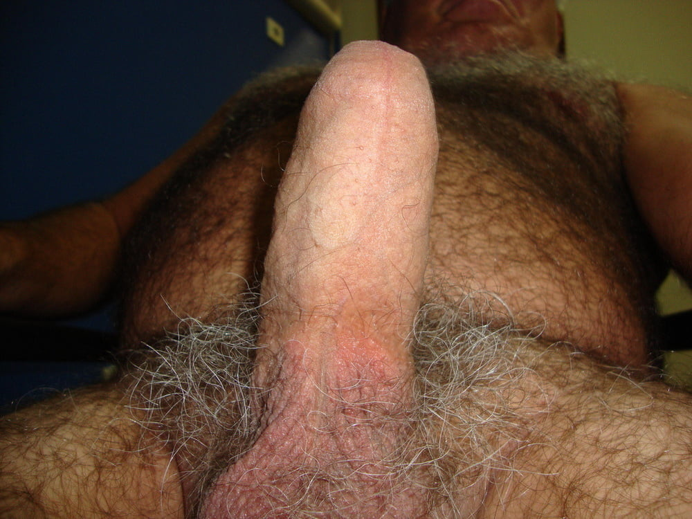hairy daddy's cock, close up